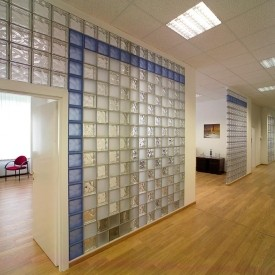 Blue glass block accent wall